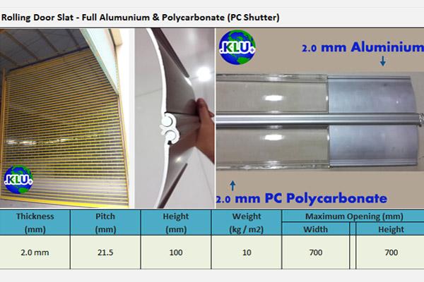 Rolling Door Otomatis Polycarbonate